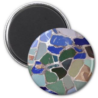 Mosaicos del azul de Antonio Gaudi Imán Redondo 5 Cm