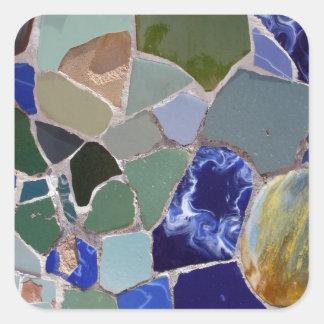 Mosaicos del azul de Antonio Gaudi Pegatina Cuadrada