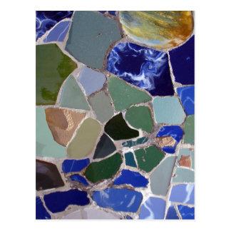Mosaicos del azul de Antonio Gaudi Postales