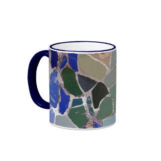 Mosaicos del azul de Antonio Gaudi Taza De Dos Colores