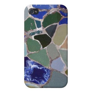 Mosaicos del azul de Gaudi iPhone 4 Funda