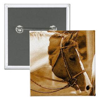 Mosaicos del caballo de Sephia Pin Cuadrado