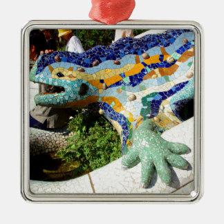Mosaicos del lagarto de Gaudi Adorno Navideño Cuadrado De Metal