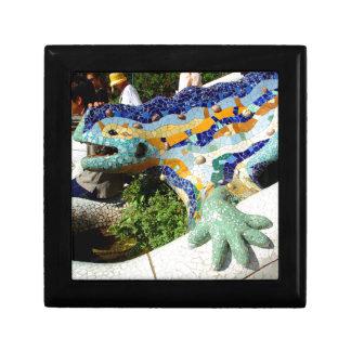 Mosaicos del lagarto de Gaudi Joyero Cuadrado Pequeño