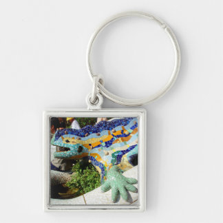 Mosaicos del lagarto de Gaudi Llavero Cuadrado Plateado