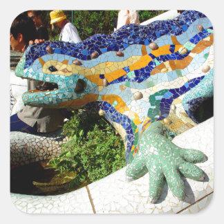 Mosaicos del lagarto de Gaudi Pegatina Cuadrada