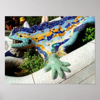 Mosaicos del lagarto de Gaudi Póster