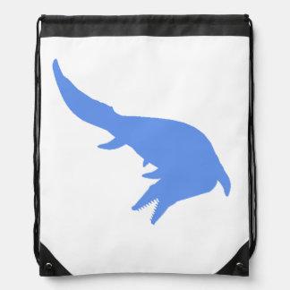 Mosasaurs Giganteus Silhouette (Blue) Cinch Bag