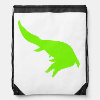 Mosasaurs Giganteus Silhouette (Green) Cinch Bag