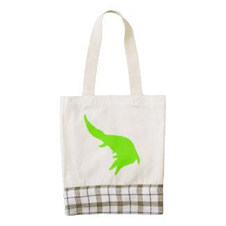 Mosasaurs Giganteus Silhouette (Green) Zazzle HEART Tote Bag