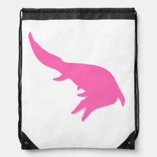 Mosasaurs Giganteus Silhouette (Pink) Drawstring Backpack