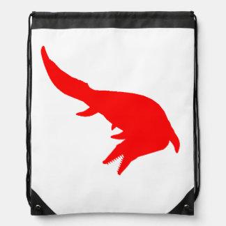 Mosasaurs Giganteus Silhouette (Red) Drawstring Bag