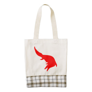 Mosasaurs Giganteus Silhouette (Red) Zazzle HEART Tote Bag