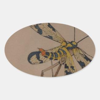 mosca 1990 del dragón pegatina ovalada