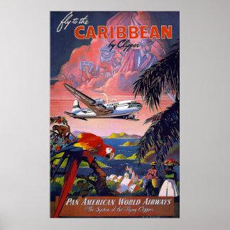 Mosca al Pan American World Airways del Caribe Póster