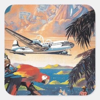 Mosca al poster del Caribe 50s del vintage Pegatina Cuadrada
