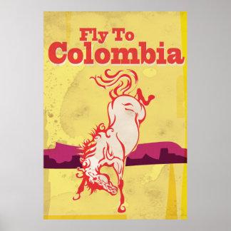 Mosca al poster del viaje del vintage de Colombia Póster