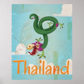 Mosca al poster del viaje del vintage de Tailandia
