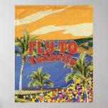 Mosca al poster del viaje del vintage de Tenerife