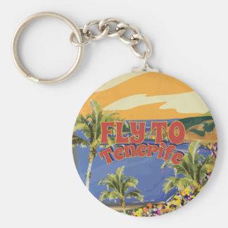 Mosca al poster del viaje del vintage de Tenerife Llavero Redondo Tipo Pin