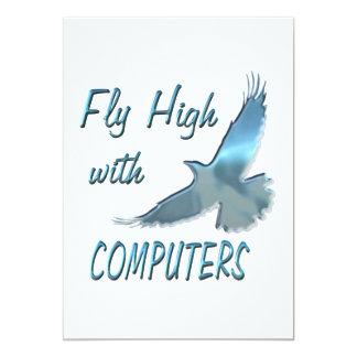 """Mosca alta con los ordenadores invitación 5"""" x 7"""""""