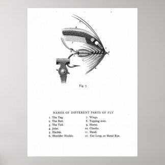 mosca atada mano de la pesca póster