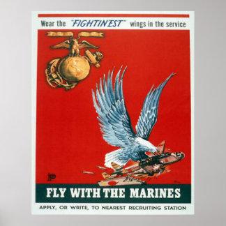 Mosca con los infantes de marina poster