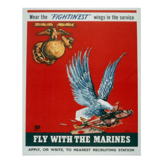 Mosca con los infantes de marina póster