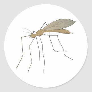 mosca de grúa del mosquito etiqueta redonda