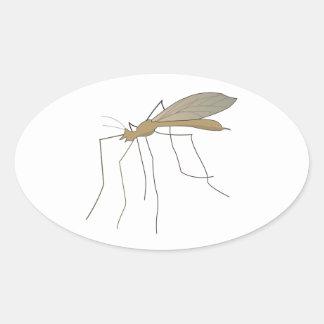 mosca de grúa del mosquito calcomania óval