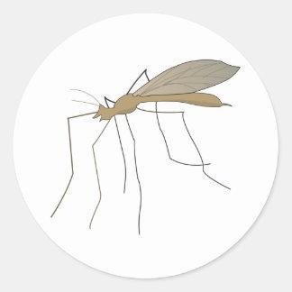 mosca de grúa del mosquito pegatinas redondas