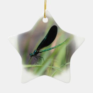 Mosca de la damisela adorno navideño de cerámica en forma de estrella