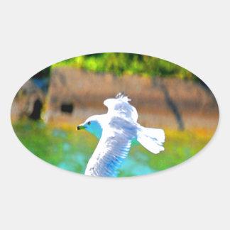 mosca de la gaviota para amar paraíso calcomanía ovaladas personalizadas
