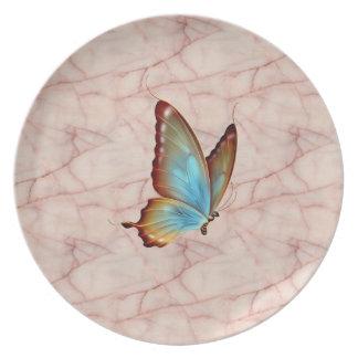 Mosca de la mantequilla del mármol del rosa de la  platos de comidas