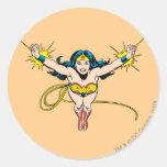 Mosca de la Mujer Maravilla adelante Pegatina Redonda