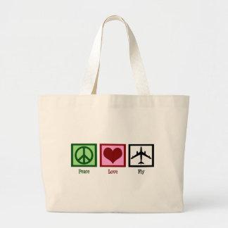 Mosca del amor de la paz bolsa tela grande