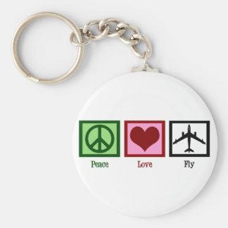 Mosca del amor de la paz llavero redondo tipo pin