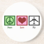 Mosca del amor de la paz posavasos cerveza