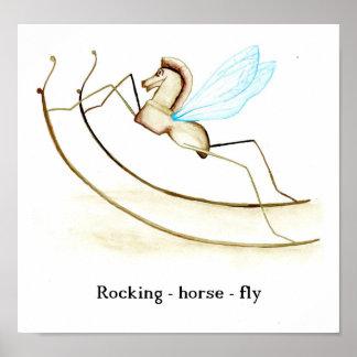 Mosca del caballo mecedora póster