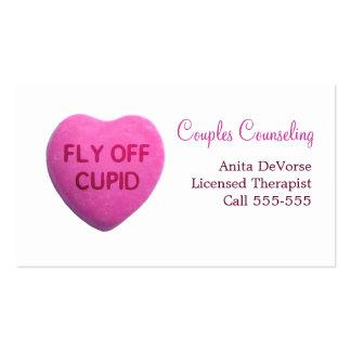 Mosca del corazón del caramelo del rosa del Cupid Tarjeta Personal