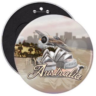 Mosca del vintage al poster del viaje de Australia Pin Redondo 15 Cm