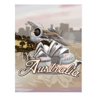Mosca del vintage al poster del viaje de Australia Tarjetas Postales