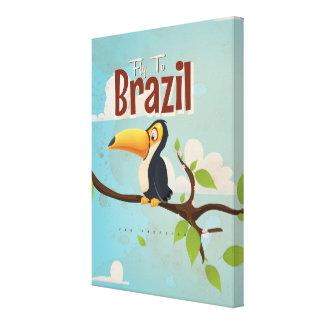 Mosca del vintage al poster del viaje del Brasil Impresion De Lienzo