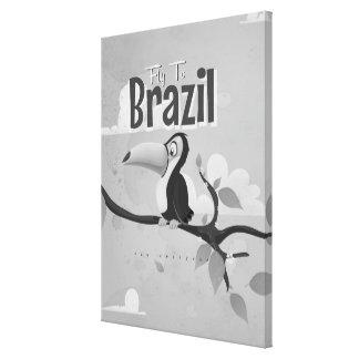 Mosca del vintage al poster del viaje del Brasil Impresion En Lona