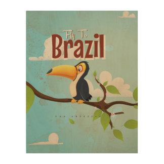 Mosca del vintage al poster del viaje del Brasil Impresión En Madera