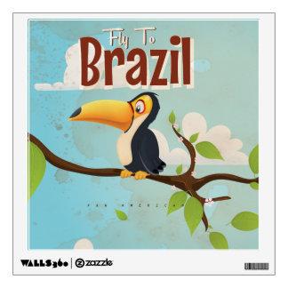 Mosca del vintage al poster del viaje del Brasil Vinilo