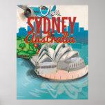 Mosca del vintage poster del viaje de Sydney, Póster