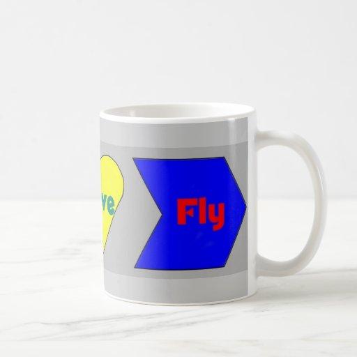 Mosca viva v2 del amor tazas de café