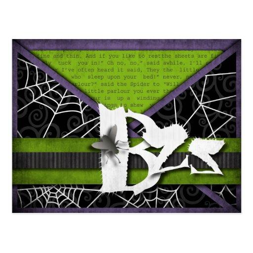 Moscas de Bzz y Web de araña gruesos para Tarjetas Postales