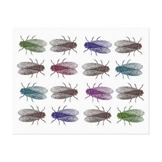 Moscas en la pared - moscas del vinagre multicolor impresiones en lona estiradas